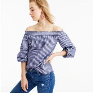 J.CREW Striped Long Sleeve Off The Shoulder Top 4